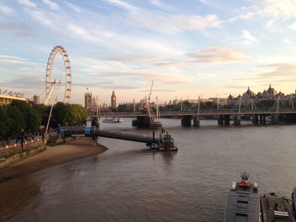 london river thames bridge view sunset London eye