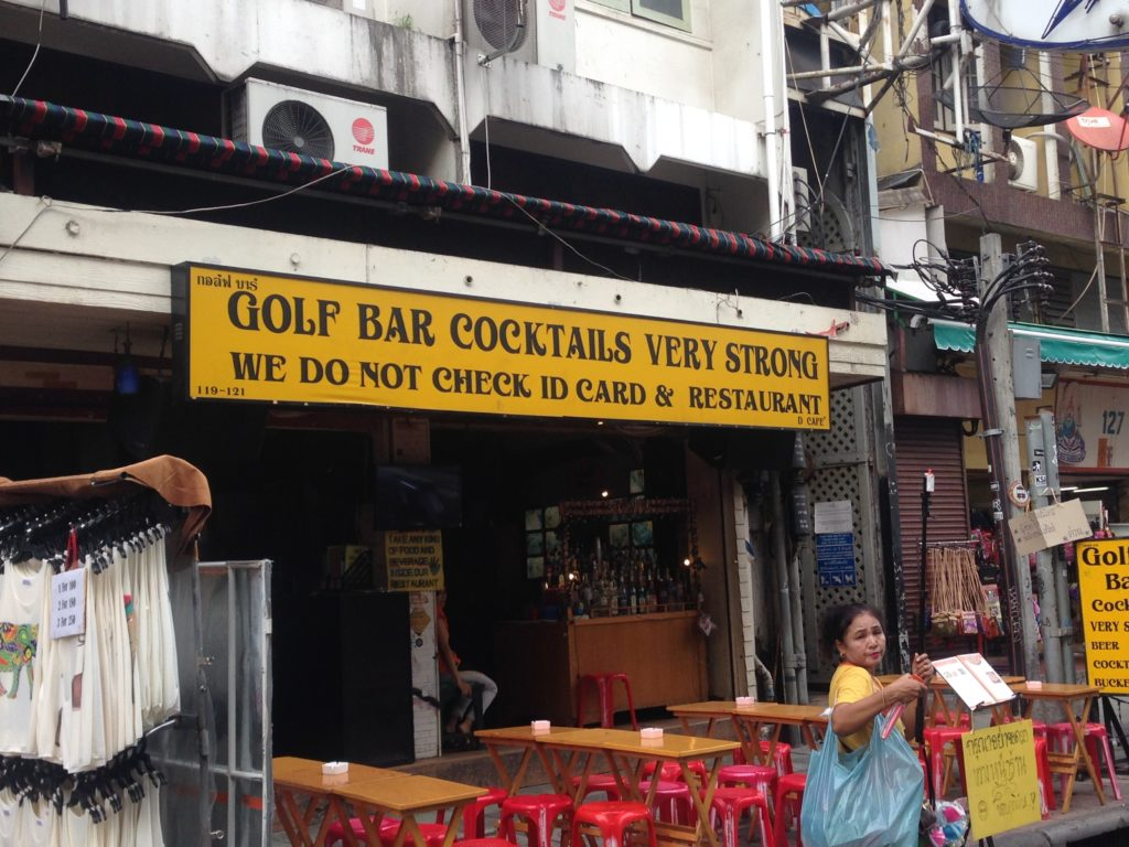 Bar, Khao San Road, we ask for no id and resturant, translations, Bangkok, Thailand, Asia