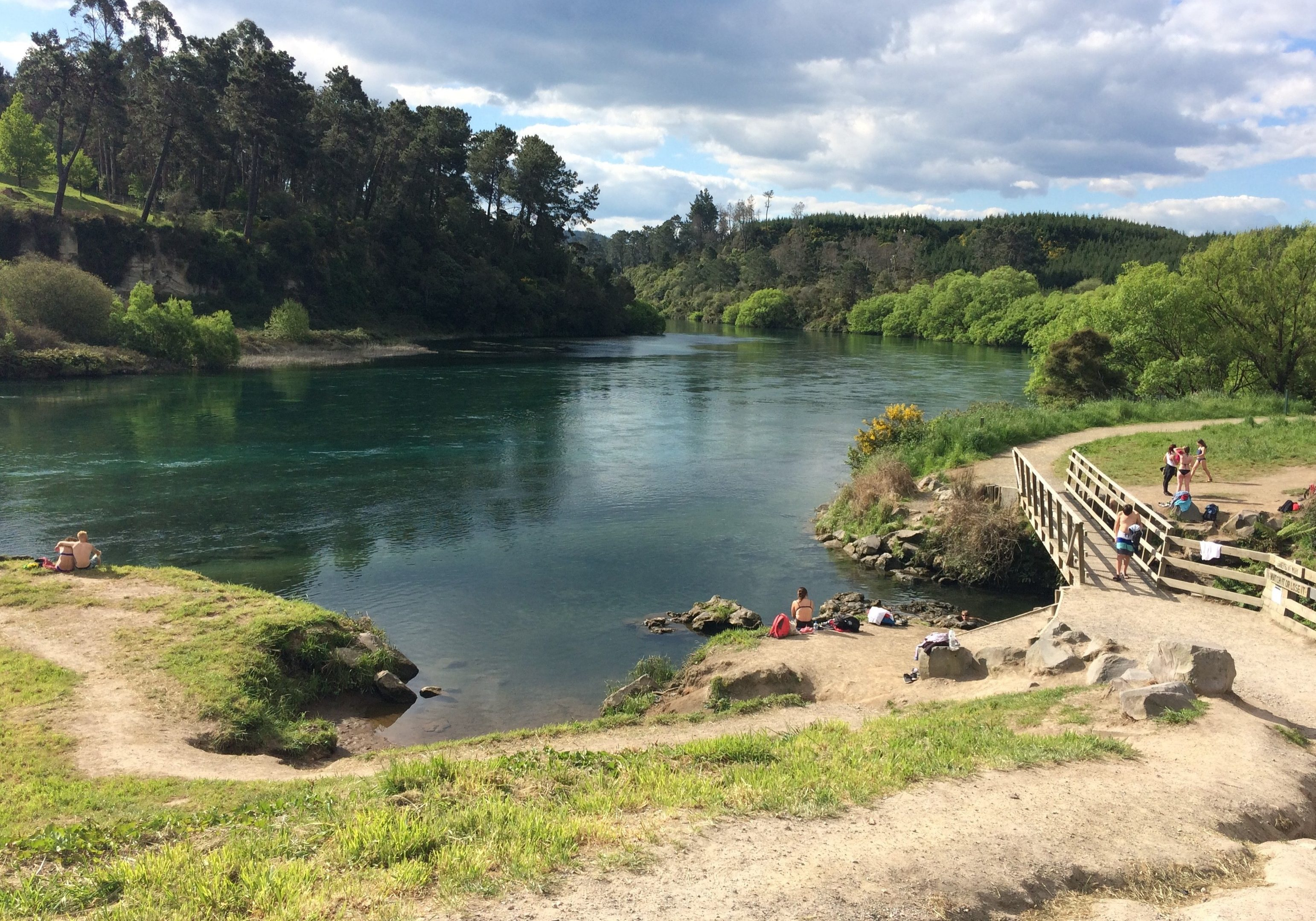 hot, water stream, taupo, north island, new zealand
