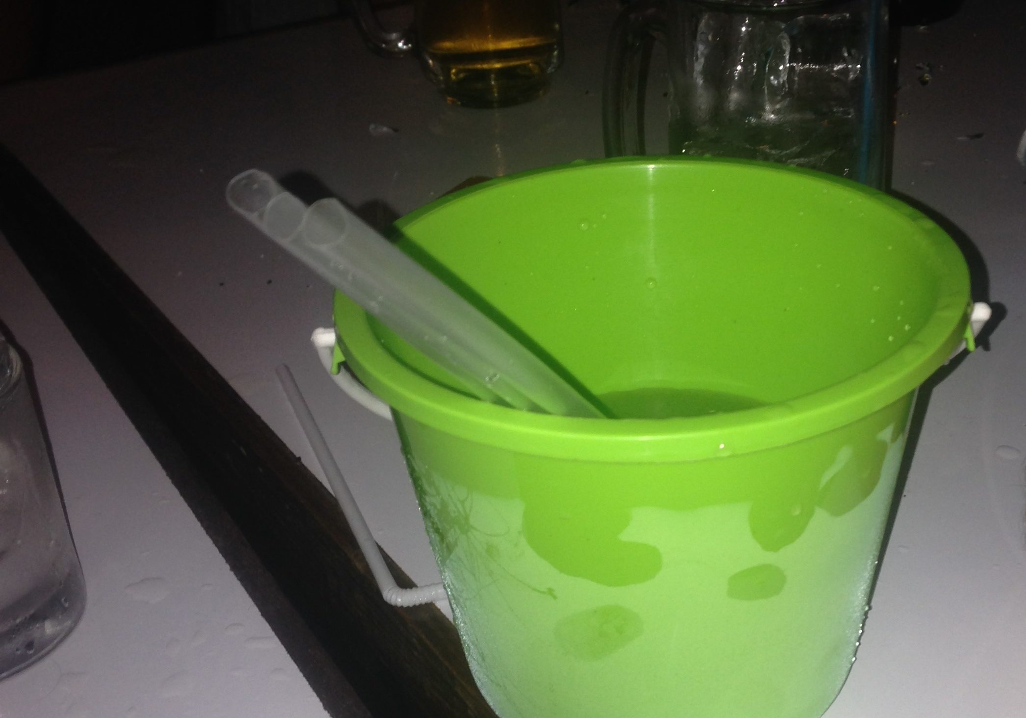 bucket, thailand, buckets, travels, travelling, backpacking, green, green bucket, alcohol, drinking sangsom,