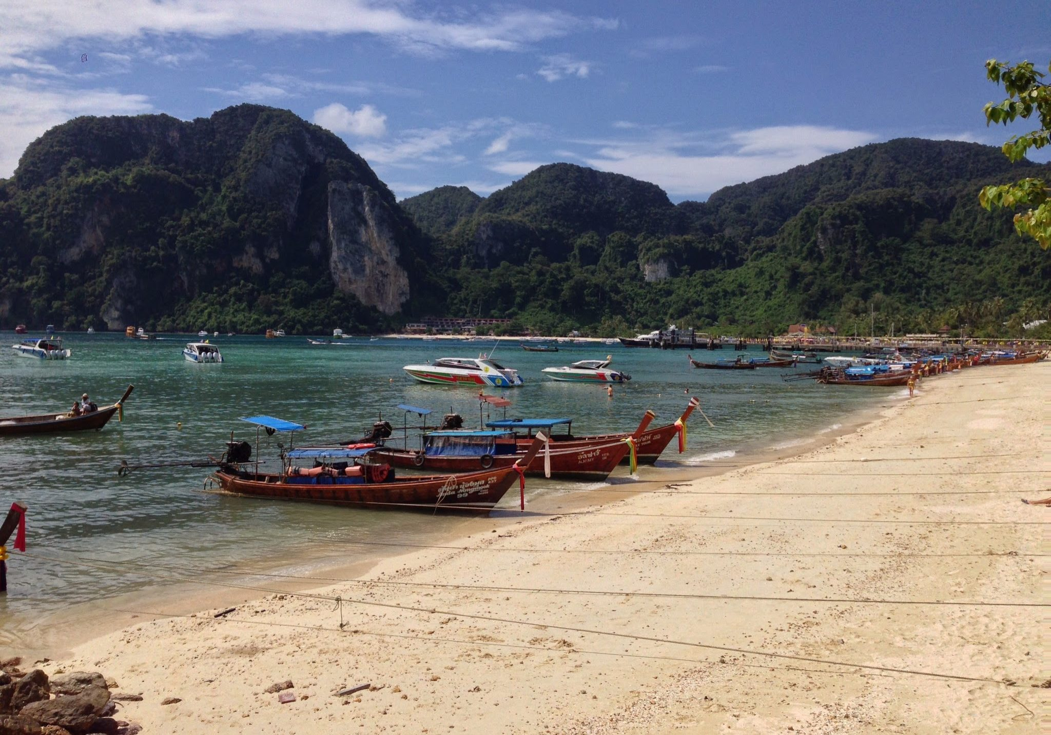 Koh Phi Phi, island, boats, beach, long tail boats. thailand, travelling, travels, backpacking,
